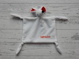 Bonbebe knuffeldoek velours wit rood Muis
