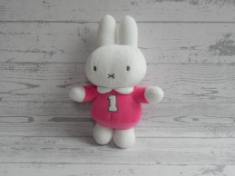 Nijntje knuffel rammelaar velours wit roze cijfer 1