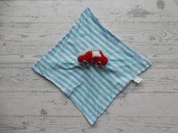 Knuffeldoek tricot blauw wit gestreept velours auto