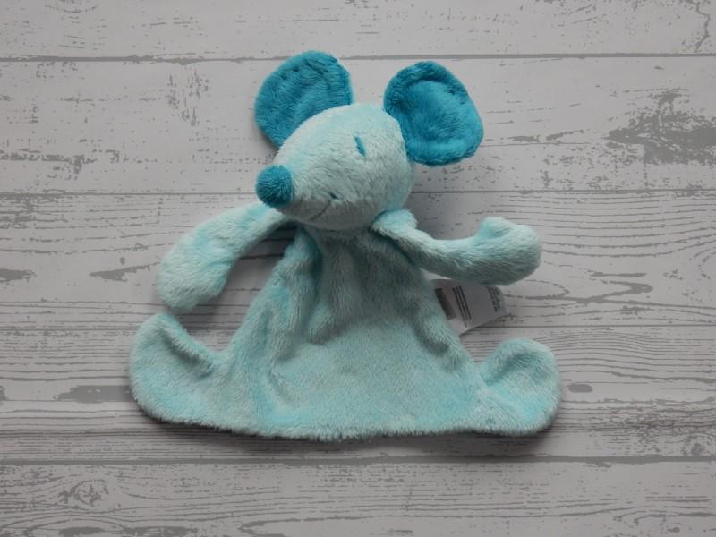 Mexx knuffeldoek velours aqua blauw Muis