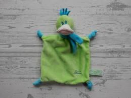 Tiamo knuffeldoek velours groen blauw eend Daffy Duck