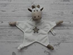 Tiamo knuffeldoek velours wit beige bruin ster Giraffe Gino