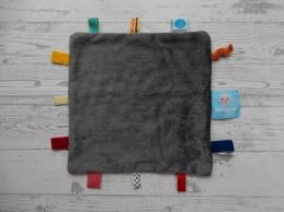 Snoozebaby knuffeldoek labeldoek velours grijs geruit