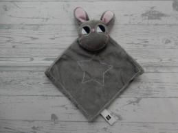Hema knuffeldoek knuffellap velours grijs roze konijn