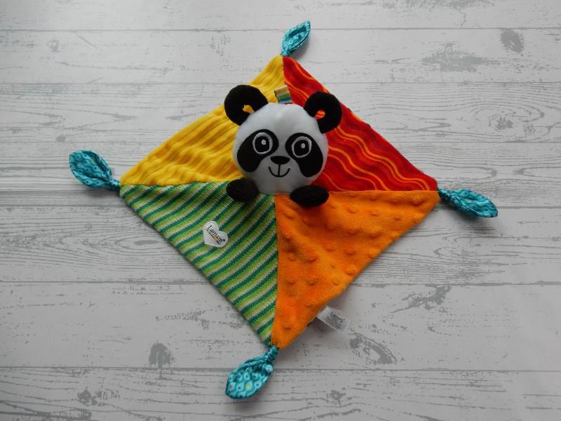 Tomy Lamaze knuffeldoek velours oranje rood geel Panda
