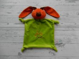 Careyn knuffeldoek velours oranje groen bruin Konijn