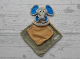 Unicef set knuffeldoek velours grijs beige blauw Olifant