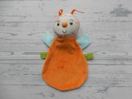 Happy Horse knuffeldoek velours oranje lichtroze Vlinder