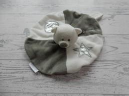 Babypark knuffeldoek velours wit grijs rond ster hart beer