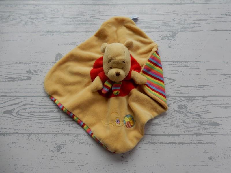 Disney baby knuffeldoek velours oranje rood groen gestreept Winnie