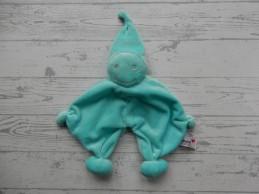 Prenatal knuffeldoek tuttel tutpopje blauw zilver kort mutsje