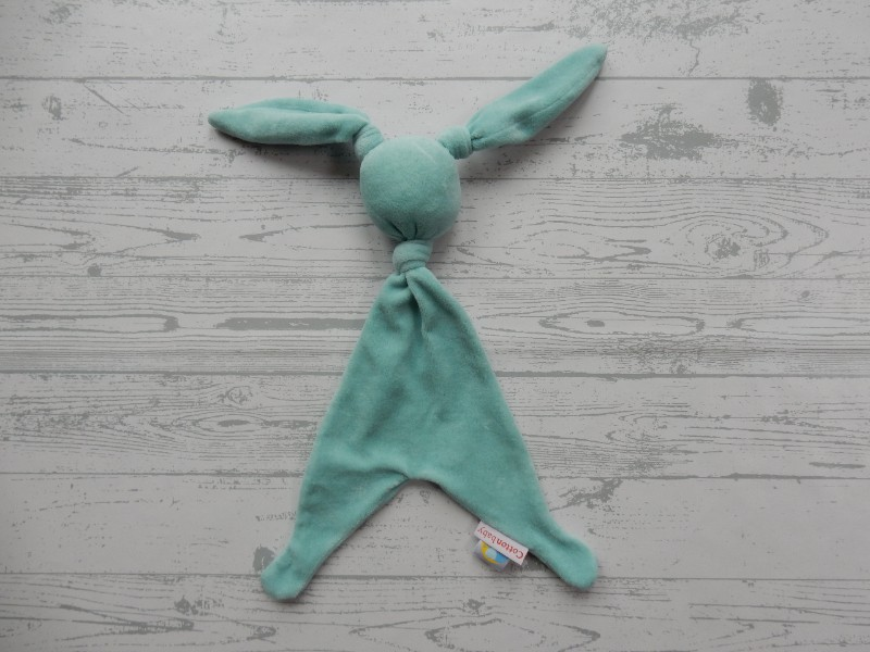Cotton Baby Babymoon knuffeldoek velours aqua blauw konijn