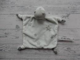 Prenatal knuffeldoek tuttel velours wit grijs Draak Dirk Er was eens