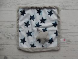 Prenatal knuffeldoek tuttel velours wit blauw grijs ster