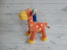Nicotoy knuffel velours oranje groen blauw Giraffe 25 cm