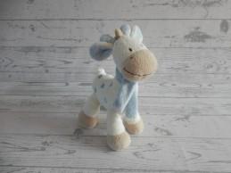 Nicotoy knuffel velours beige blauw sjaal Giraffe 23 cm