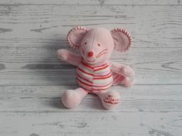 Tiamo knuffel velours roze wit gestreept muis Mike 17 cm