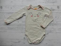 Hema romper ecru grijs mêlee zalm roze Hey Little Rabbit maat 62-68