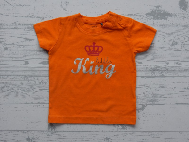 Prenatal t-shirt oranje Little King maat 68