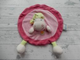 Nattou Jollymex knuffeldoek velours roze groen rond Nijlpaard
