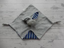 Bambino knuffeldoek velours grijs blauw grijs gestreept Konijn