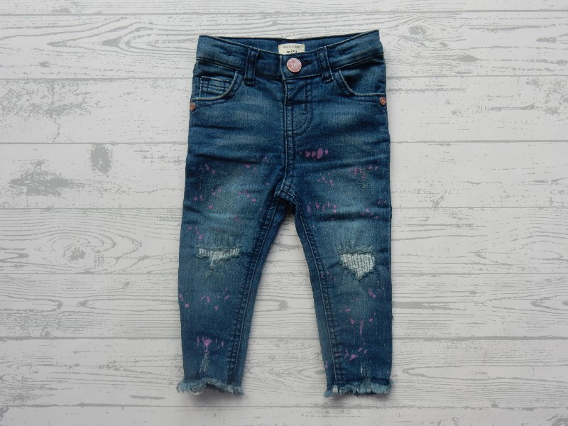 River Island Mini Girls jeans blauw paars patches maat 80