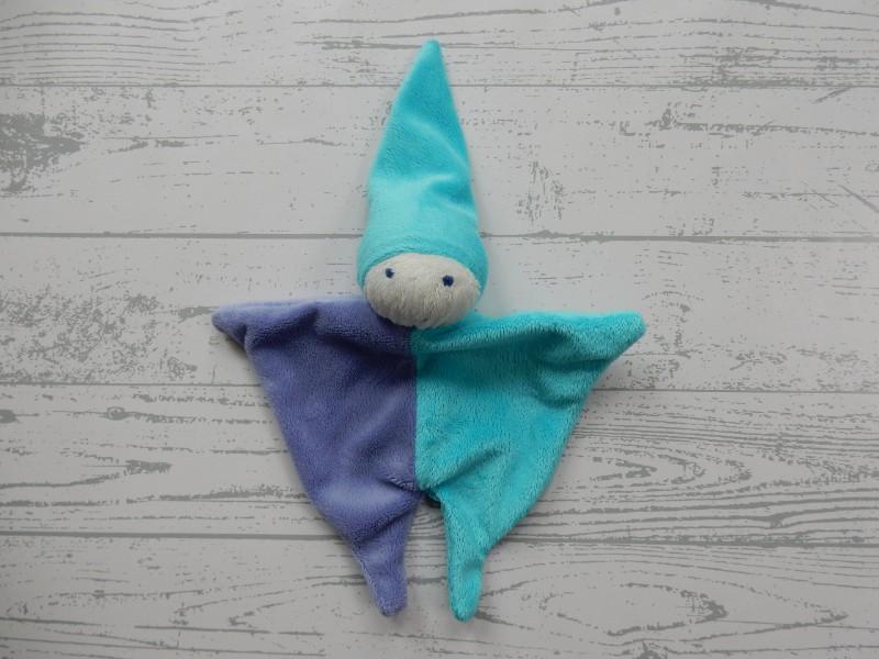 Difrax knuffeldoek tutpopje velours paars blauw Pierrot
