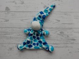 Tiamo De Kandeel lappenpopje velours blauw aquablauw gevlekt