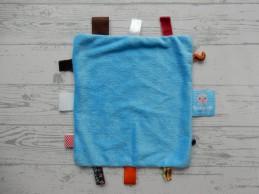 Snoozebaby knuffeldoek labeldoek velours blauw geruit