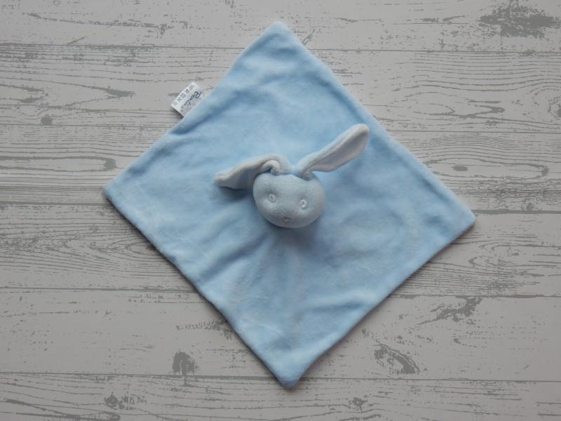 Bambino knuffeldoek velours lichtblauw wit konijn