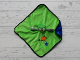 J.i.P JiP knuffeldoek velours satijn groen blauw Uil