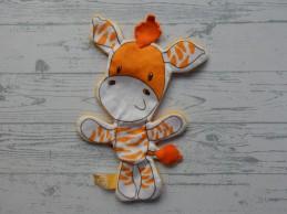 CZ knuffeldoek velours oranje wit knisper Zetje Zebra