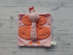 Difrax knuffeldoek knuffellap velours roze vlinder Babette