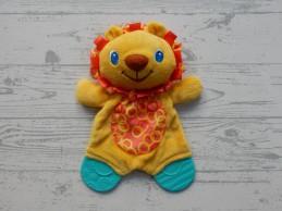 Bright Starts knuffeldoek velours geel rood blauw Leeuw