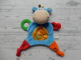 Playgro knuffeldoek velours blauw rood bijtstuk Blankie Toy Box