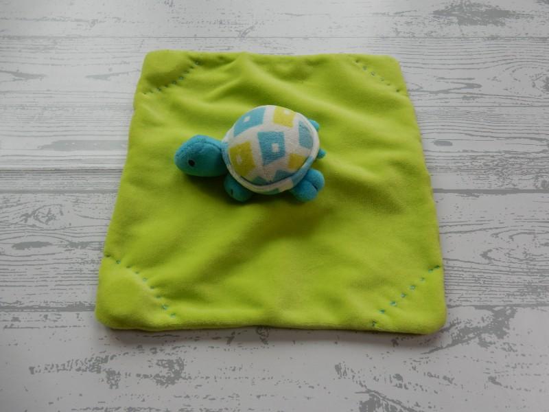 Unitoys knuffeldoek velours groen rammeltje knisper Schildpad