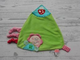 Haba knuffeldoek speendoek velours groen roze meisje paddestoel
