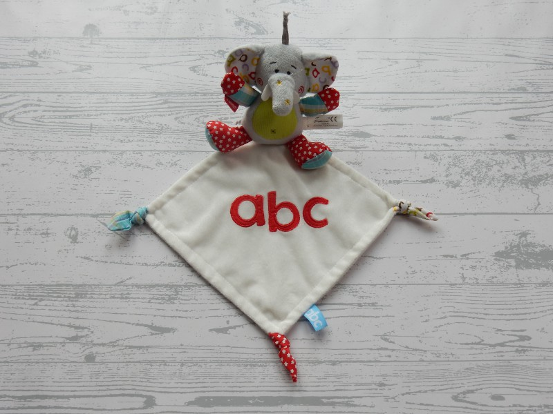 Tiamo knuffeldoek velours wit rood blauw abc olifant Dani