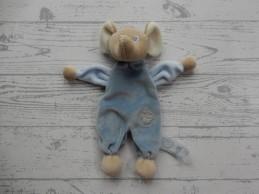 Evora knuffeldoek tutpopje velours beige grijsblauw Muis