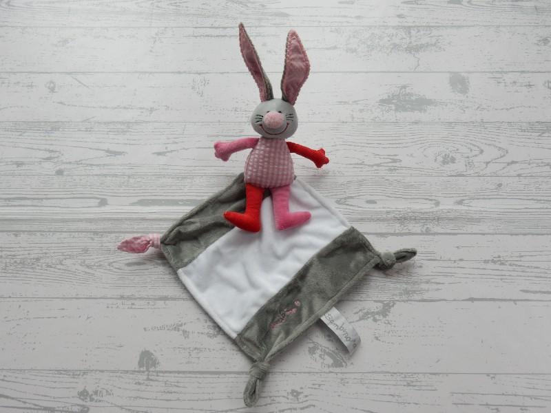 Bambino knuffeldoek velours grijs wit roze rood konijn Bets Bunny