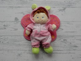 Nicotoy knuffel pop velours roze groen vlinder popje Meisje