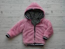 Z8 vest jas reversibel tricot teddy roze zwart wit sterretjes mt 92-98