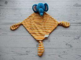Russ Berrie knuffeldoek velours blauw geel gestreept olifant