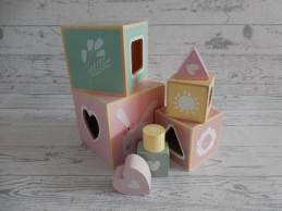 Little Dutch Tiamo houten stapelblokken roze groen geel