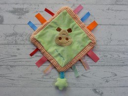 Tiamo knuffeldoek velours groen oranje geruit nijlpaard Harry Hippo