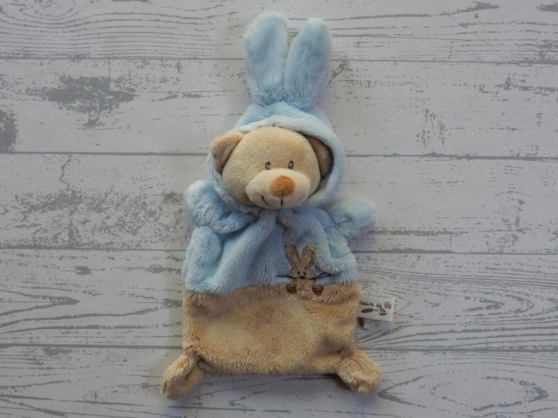 Grain de Ble Zannier knuffeldoek velours beige bruin blauw beer konijn