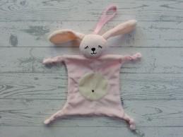 Knuffeldoek velours roze ecru slapend gezichtje konijn