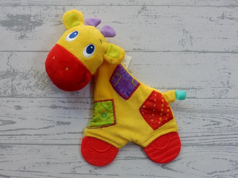Bright Starts knuffeldoek knuffellap velours geel rood Giraffe