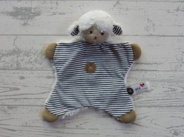 Prenatal knuffeldoek tuttel velours wit blauw gestreept schaap Siep