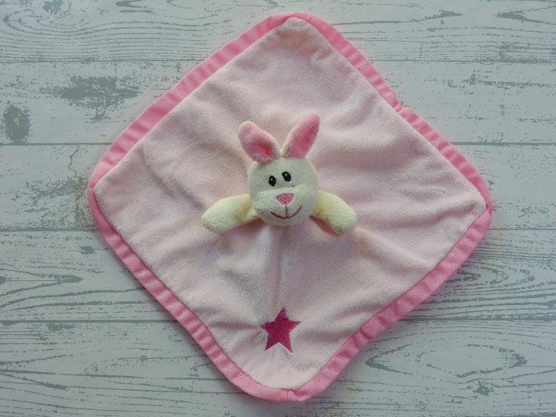 Zeeman knuffeldoek velourse roze ecru ster konijn